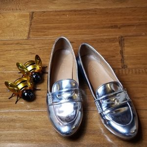 J Crew Silver Loafer